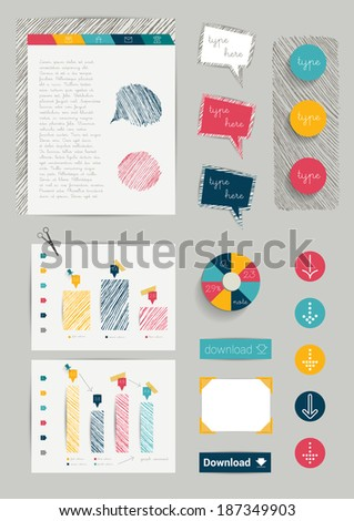 Set of hand drawn infographic elements. Charts, speech bubbles, buttons, signs and paper background. Vector illustration.  - stock vector