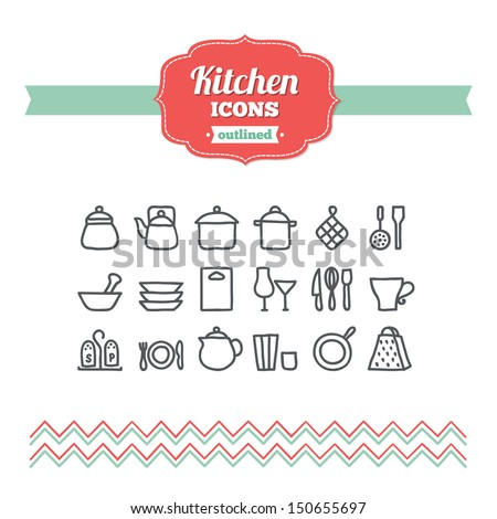 Set of hand-drawn kitchen icons - stock vector