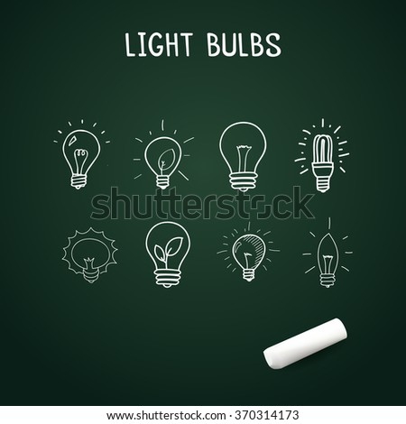 Set of Hand-drawn light bulbs, doodle icons with chalk - stock vector