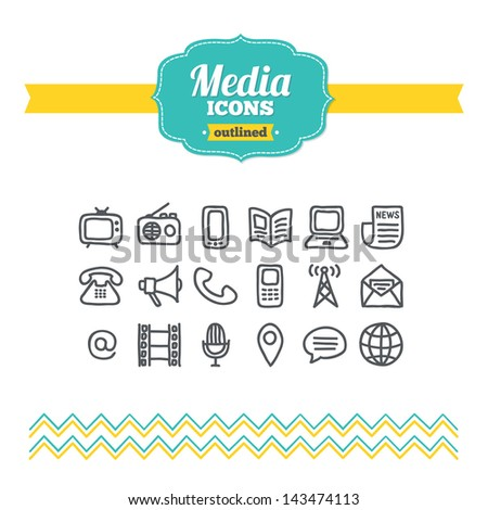 Set of hand drawn media icons - stock vector