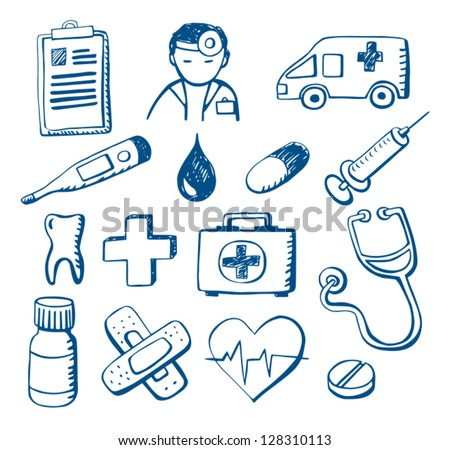 Set of hand-drawn medical doodles - stock vector
