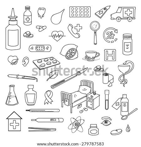 Set of hand-drawn medical doodles, vector illustration - stock vector