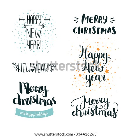 Set of hand drawn Merry christmas and Happy new year lettering. Winter decoration elements for design greeting cards, photo overlays, invitations and more - stock vector