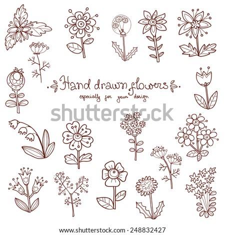 Set of hand drawn monochrome doodle flowers - daisy, bells, daisy, dandelion, chamomile, umbrella - stock vector