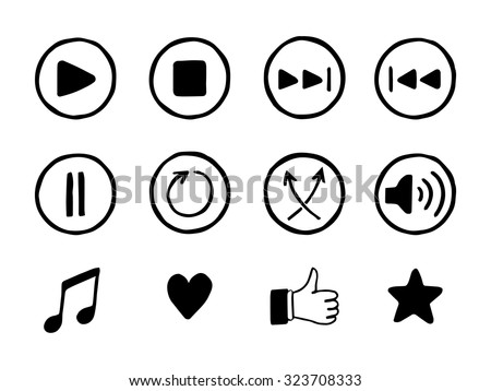 Set of hand drawn music icons. Sketch style buttons. Media player elements. Vector illustration. - stock vector