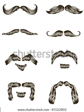 Set of hand drawn mustaches - stock vector