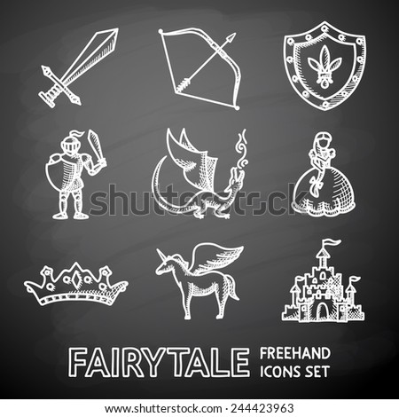Set of hand drawn on chalkboard fairytale (game) icons with - sword, bow, shield, knight, dragon, princess, crown, unicorn, castle. Vector - stock vector