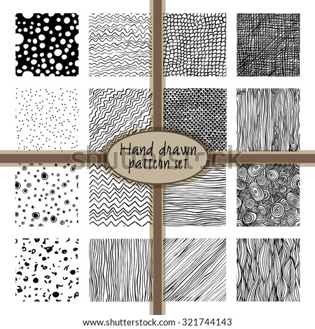 set of 32 hand drawn patterns - stock vector