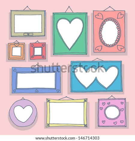 Set of hand drawn picture frames. - stock vector