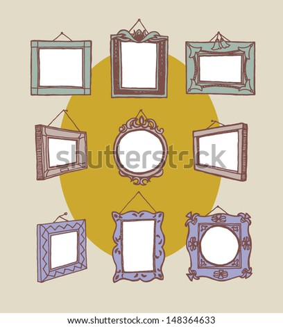 Set of hand drawn picture frames fixed on wall with nail. Rectangular, square and round shape. Drawing line. Colored. - stock vector