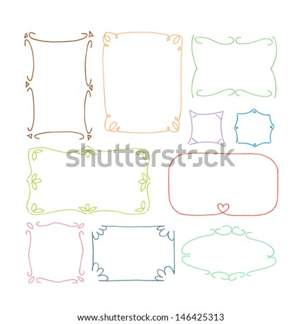 Set of hand drawn picture frames. Thin line style. Isolated on white background - stock vector