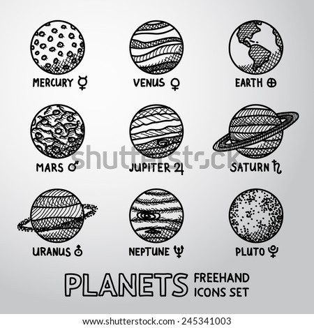 Set of hand drawn planet icons with names and astronomical symbols - mercury, venus, earth, mars, jupiter, saturn, uranus, neptune, pluto. Vector - stock vector