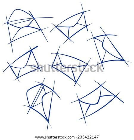 Set of hand drawn post envelops - stock vector