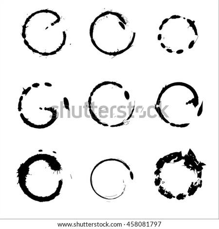 Set of Hand Drawn Scribble Circles, vector design elements - stock vector