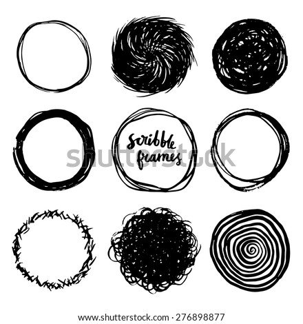 Set of hand drawn scribble circles, vector design elements collection. - stock vector