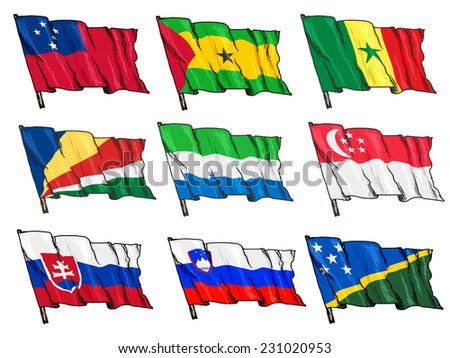 set of hand drawn sketch illustrations of national flags - stock vector