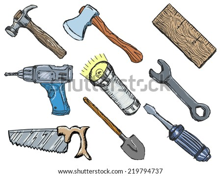 set of hand drawn, sketch illustrations of tools - stock vector