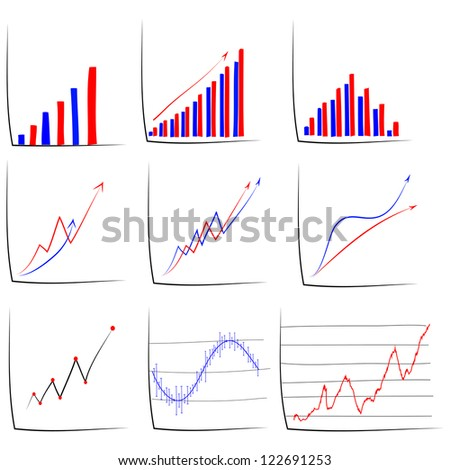 Set of hand drawn sketch of business graph. - stock vector