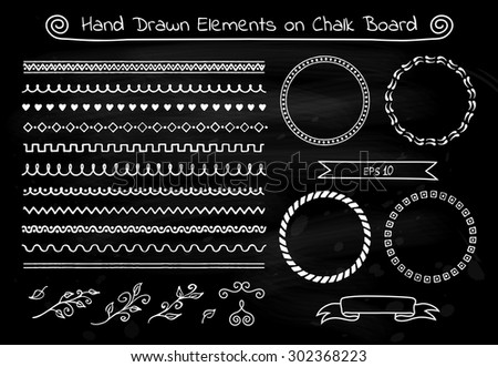 Set of hand drawn sketch ribbon banners and decorative elements on black chalk board texture. Vector illustration. - stock vector