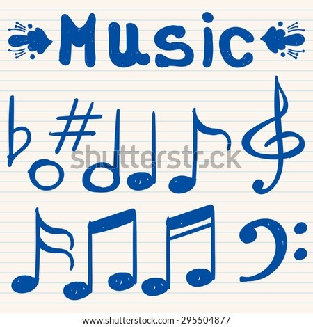 Set of hand drawn, sketched, doodled music notes and signs. - stock vector