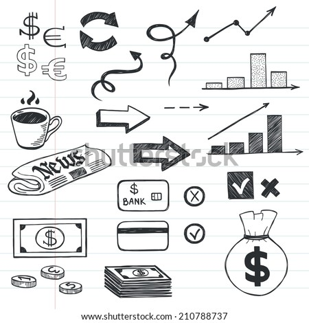 Set of hand drawn sketchy business icons on lined notebook paper background. Money related images. - stock vector