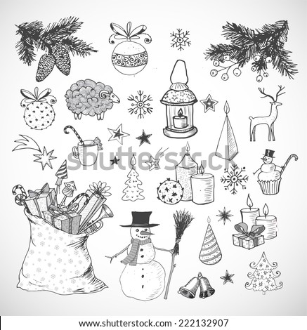 Set of hand-drawn sketchy christmas elements. Doodle sketch vector illustration. Candles, gift boxes. snowmen, pomanders. - stock vector