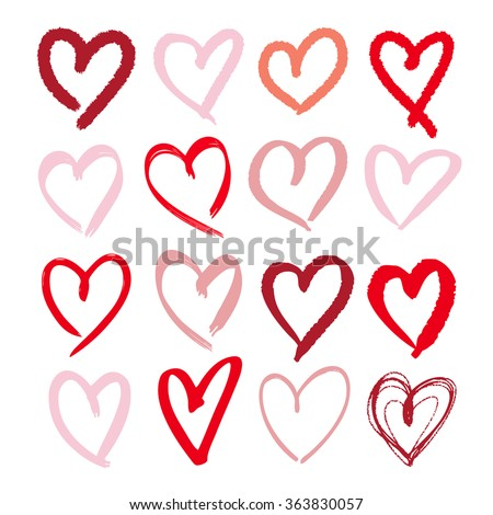 Set of hand drawn sketchy hearts. Vector grunge style icons collection. Illustration of the hand drawn hearts on the white background. - stock vector