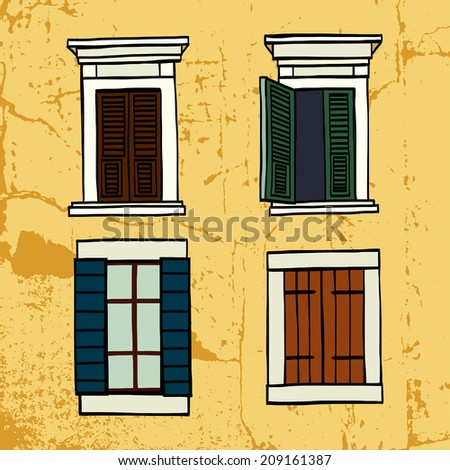 Set of hand drawn sketchy italian windows on grunge old wall. Freehand architectural sketch. - stock vector