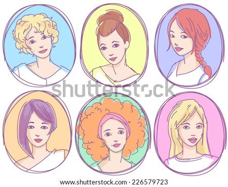 Set of hand drawn sketchy portraits, avatars, icons - young women with different hairstyles - stock vector
