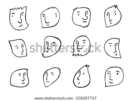set of hand drawn smiles - stock vector