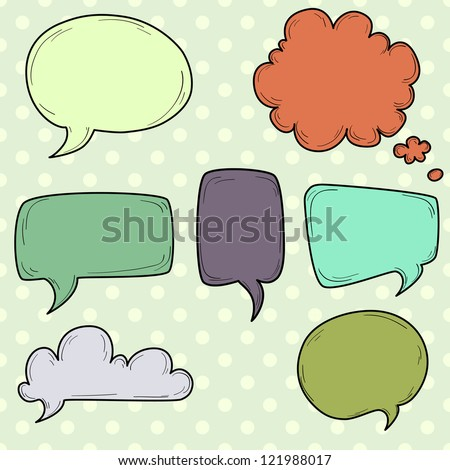 Set of hand drawn speech and thought bubbles on a polka dot background. Vector illustration. - stock vector