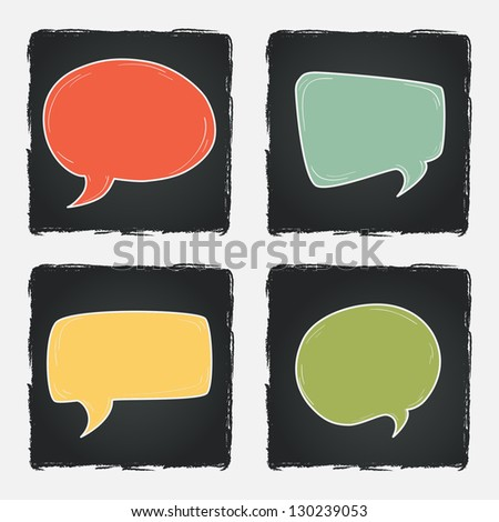 Set of hand drawn speech and thought bubbles on chalkboard background. Vector illustration. - stock vector