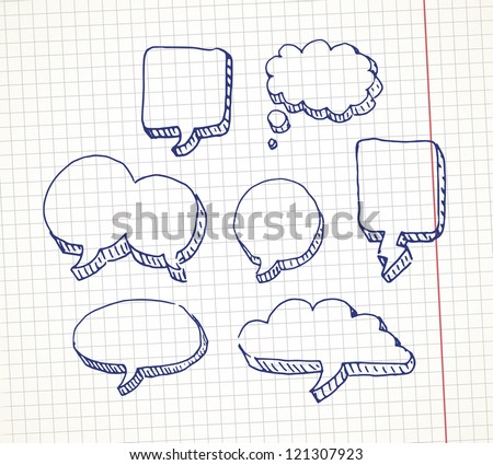 Set of hand drawn speech bubble on a notebook sheet. EPS10 vector. - stock vector