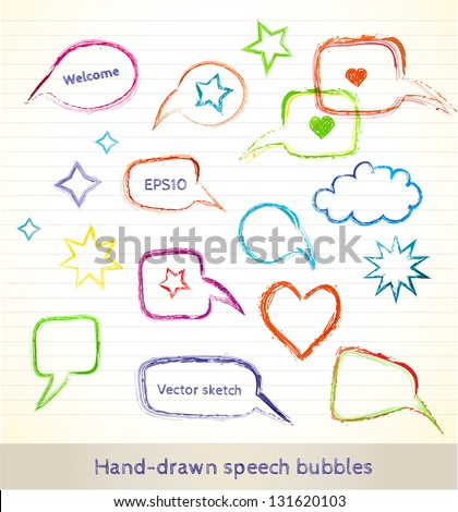 Set of hand-drawn speech bubbles for your design. Vector illustration - stock vector