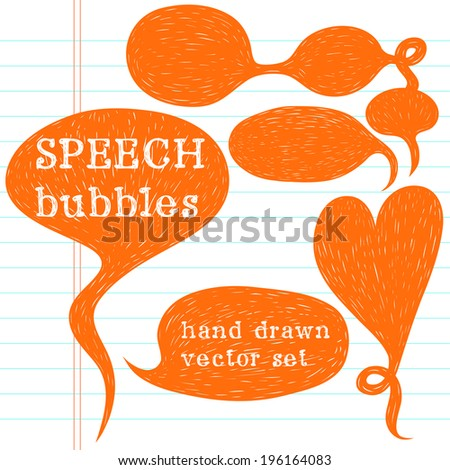 Set of hand drawn speech bubbles on lined notebook paper background. Doodle cartoon comic bubbles. - stock vector