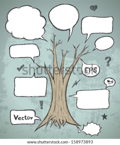 Set of hand-drawn speech bubbles with tree on abstract background. Layered. Vector EPS 10 illustration.  / can use for promotion / detail / description. - stock vector