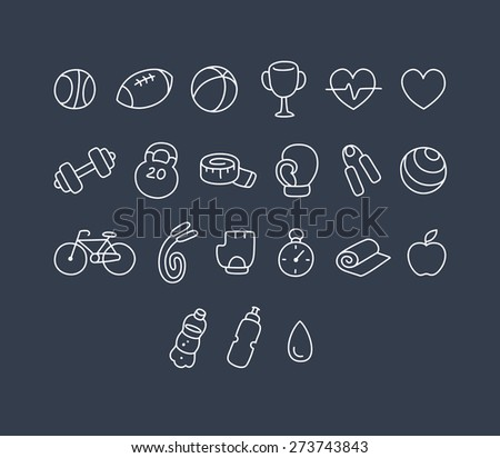Set of hand drawn sport and fitness line icons. - stock vector