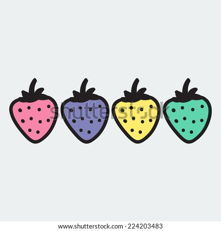 set of hand-drawn strawberry - illustration on the theme of the summer and autumn - farm, fruit, natural. Pink, green, yellow and violet sweet and tasty strawberries.  - stock vector