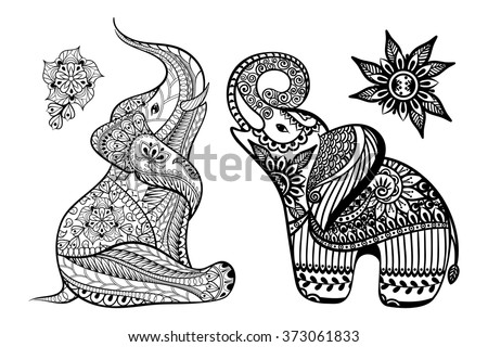 Set of Hand drawn stylized elephants with decorative tribal ethnic ornament in zentangle style. Vector animal patterned illustration isolated on white background for coloring book. - stock vector