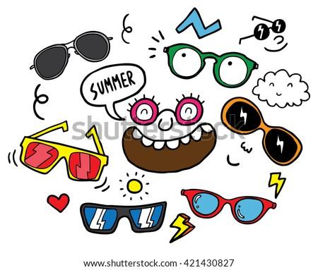 set of hand drawn sunglasses - stock vector