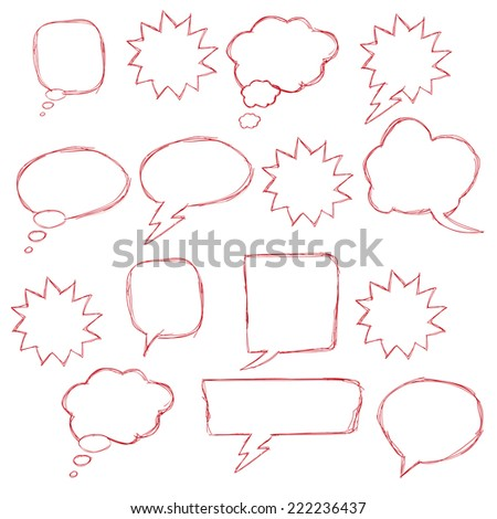 Set of hand drawn text correction elements. Arrows pointing in different directions. Underlines, highlights objects and speech bubbles. Red signs isolated on white background. - stock vector