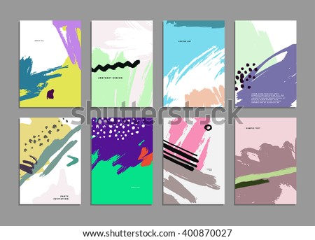 Set of Hand Drawn Universal Cards. Design for Flyers, Placards, Posters, Invitations, Brochures. Artistic Creative Templates. Abstract Modern Style. - stock vector