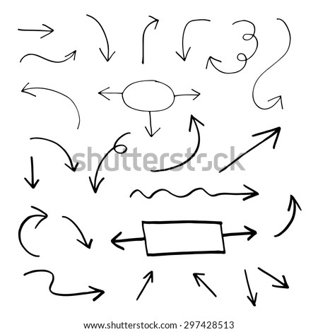 Set of hand drawn vector arrows - stock vector