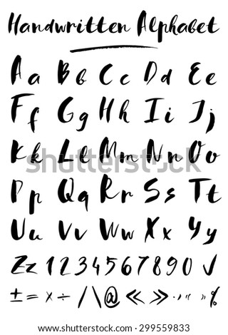 Set of hand drawn vector letters in black color - stock vector