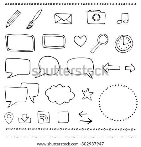 Set of hand drawn vector web icons - stock vector
