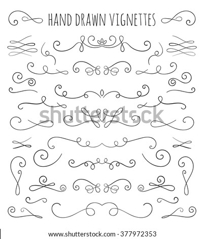 Set of hand drawn vignettes in retro style. Elegant vintage calligraphic borders and dividers for greeting card, retro party, wedding invitation. Vector illustration.  - stock vector