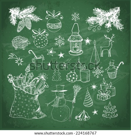 Set of hand-drawn vintage sketchy christmas elements on blackboard. Doodle sketch vector illustration. Candles, gift boxes. snowmen, pomanders.  - stock vector