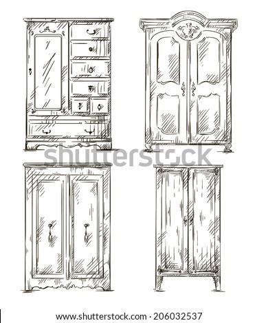 set of hand drawn wardrobes. Interior elements. Vector illustration.  - stock vector