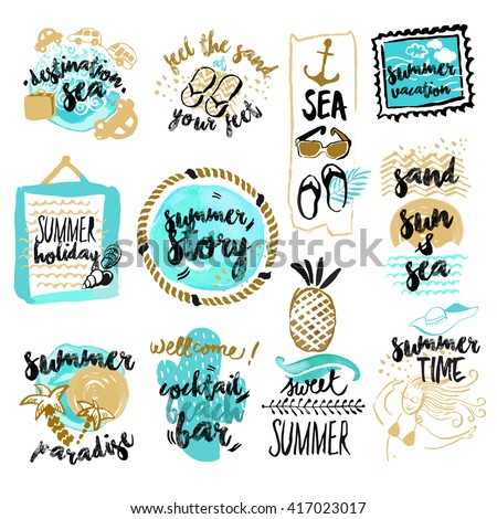 Set of hand drawn watercolor badges and stickers of summer. Vector illustrations for summer holiday, travel and vacation, restaurant and bar, menu, sea and sun, beach vacation and party. - stock vector
