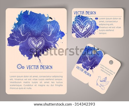 Set of hand drawn watercolor cards. Vector illustration - stock vector